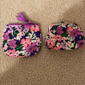 VeraBradley 2 small coin purse Flower garden NWOT